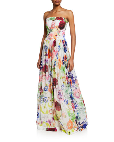 Noriana Floral-Print Strapless Ball Gown
