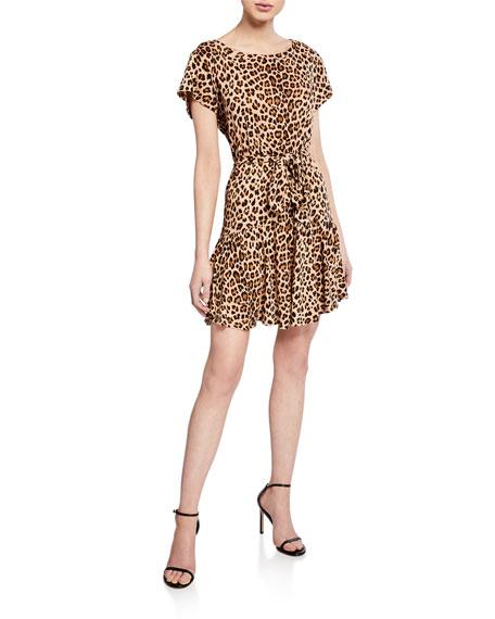 Rebecca Taylor Dresses TIE-FRONT LINEN LEOPARD-PRINT SHORT DRESS