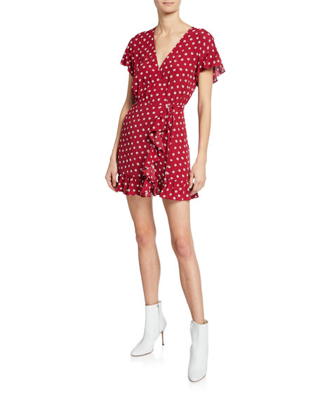 Rails Dresses KOREEN FLORAL-PRINT RUFFLED MINI WRAP DRESS