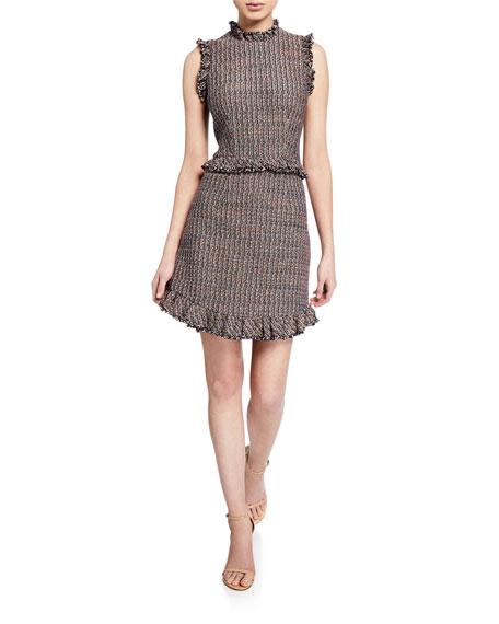 Rebecca Taylor Dresses SLEEVELESS TWEED HIGH-NECK SHORT DRESS