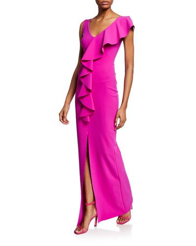 Boudicea V-Neck Sleeveless Center Ruffle Gown w/ Front Slit