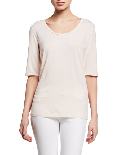 Soft Touch Elbow-Sleeve Scoop-Neck Top