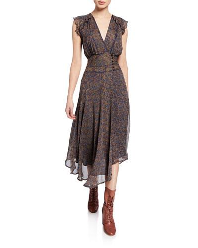 Meryl Printed V-Neck Asymmetrical Dress