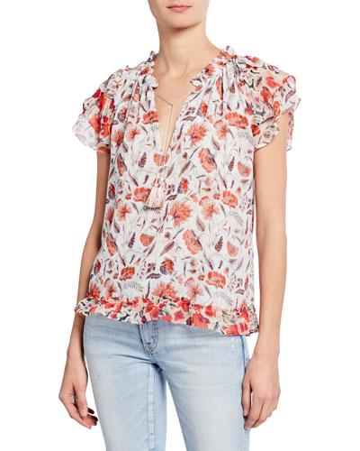 Olga Floral-Print Tie-Front Top