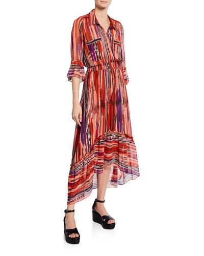 Ofelia Striped Chiffon Long Shirt Dress