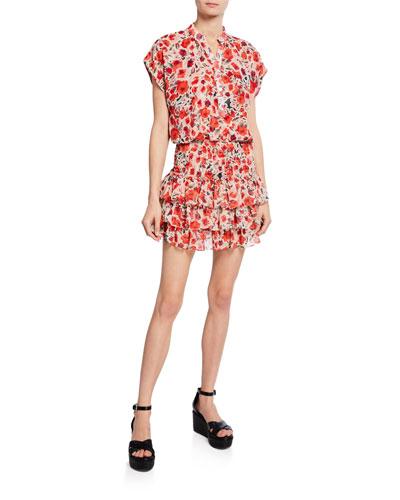 Eloisa Floral Smocked Button-Front Dress