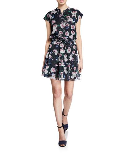 Ollie Floral-Print Button-Front Cap-Sleeve Mini Dress