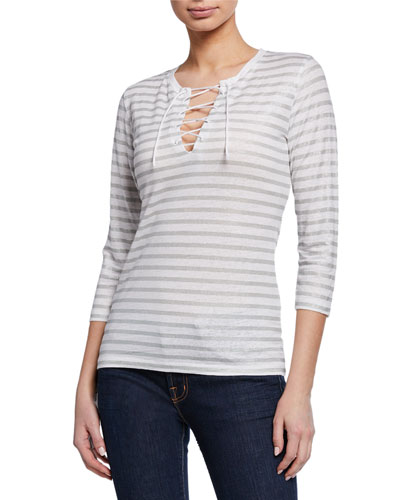 Striped Lace-up V-Neck 3/4-Sleeve Stretch-Linen Top