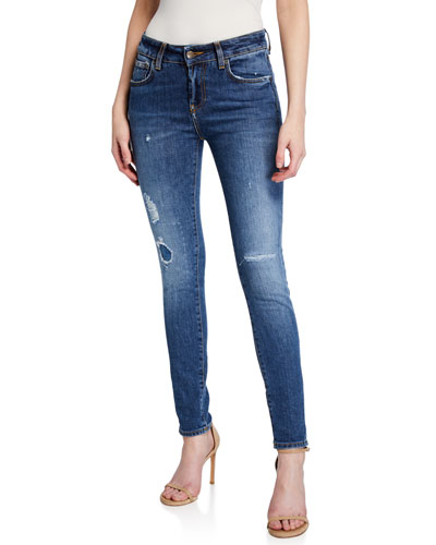Mid-Rise Stretch Skinny Jeans w/ Patch Repair