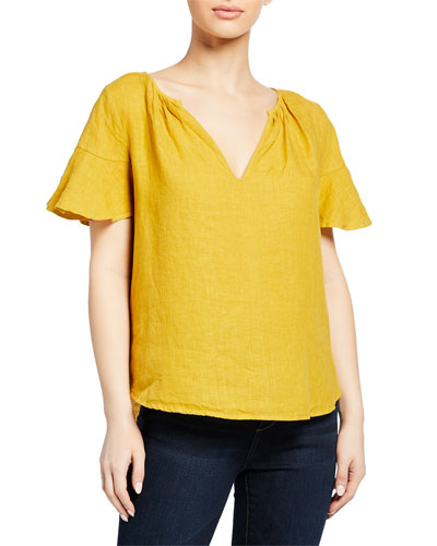Jennifer V-Neck Linen Short-Sleeve Top