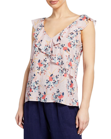 Velvet Tops RAE FLORAL-PRINT SLEEVELESS RUFFLE TOP