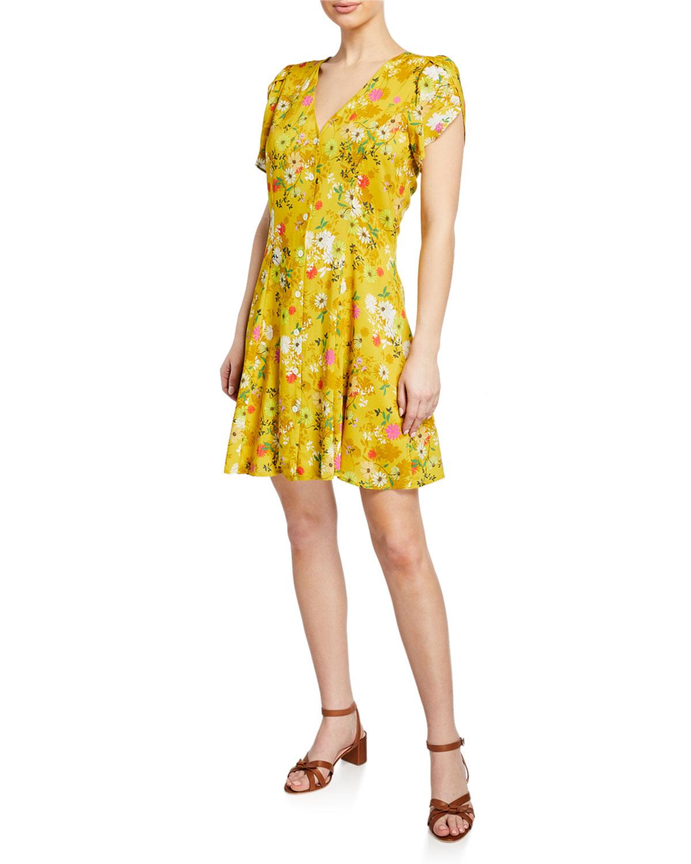 a80570ee59c Floral Print Button Front Short Sleeve Dress - raveitsafe