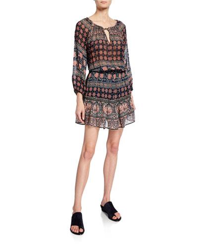 Beth Printed Long-Sleeve Short Dress