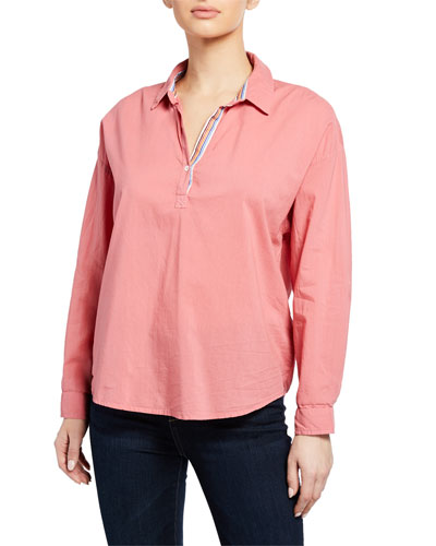 Gina Button-Front Long-Sleeve Blouse