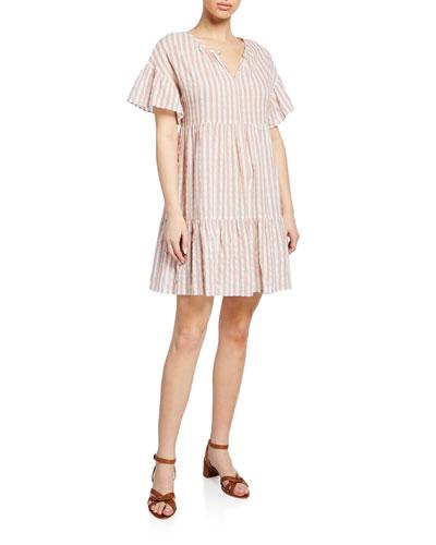 Nikki Striped Cotton Short-Sleeve Dress