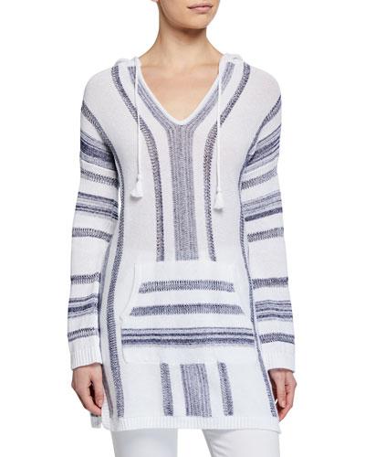 Baja Striped V-Neck Hooded Sweater