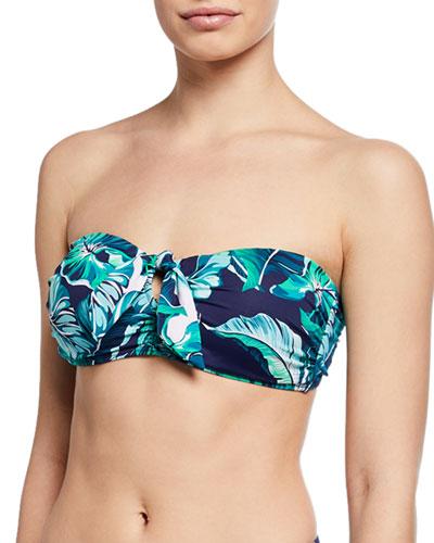 Breezy Palms Tie-Front Bandeau Bikini Top