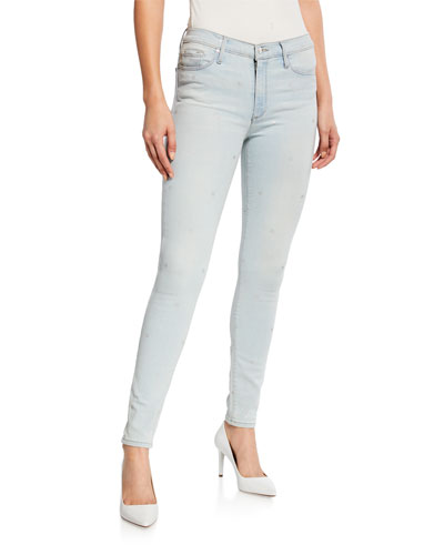 Gisele High-Rise Super Skinny Jeans w/ Allover Stars