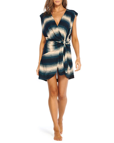 Marissa Ombre Striped Knotted Coverup Caftan