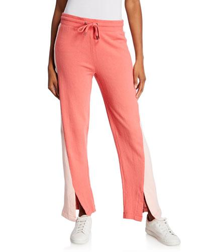 Colorblock Wide-Leg Drawstring Pants w/ Slits