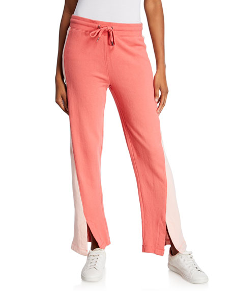 Splendid Pants COLORBLOCK WIDE-LEG DRAWSTRING PANTS W/ SLITS