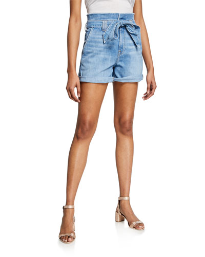 Belted Paperbag Waist Denim Shorts