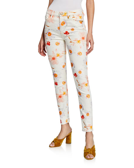 7 For All Mankind Jeans MID-RISE FLORAL-PRINT ANKLE SKINNY JEANS