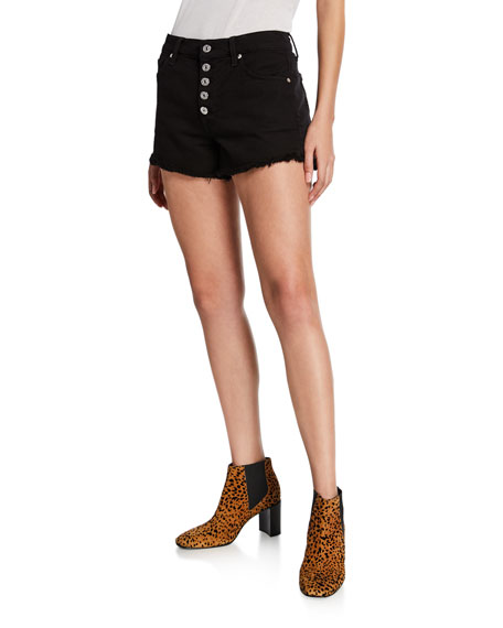 7 For All Mankind Shorts HIGH-RISE FRAYED SHORTS W/ BUTTON FLY