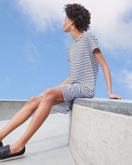 Eileen Fisher Jersey Stripe Crewneck Short-Sleeve Organic Linen Shift Dress