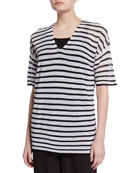 Eileen Fisher Petite Striped V-Neck Elbow-Sleeve Organic Linen Crepe Sweater