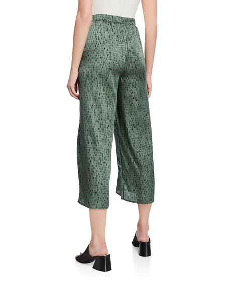 Eileen Fisher Petite Dash Print Wide-Leg Silk/Organic Cotton Crop Pants