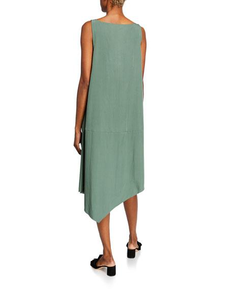 Eileen Fisher Plus Size Sandwashed V-Neck Sleeveless Asymmetric Shift Dress