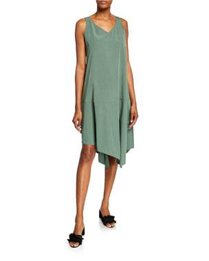 06b91dc3f573 Eileen Fisher Plus Size Sandwashed V-Neck Sleeveless Asymmetric Shift Dress