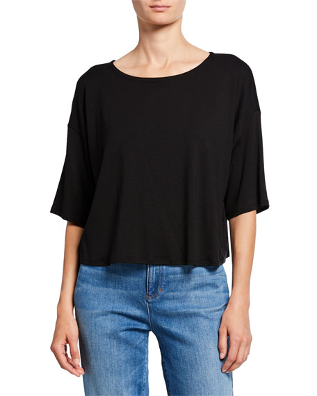 Eileen Fisher Boat-Neck Short-Sleeve Jersey Top