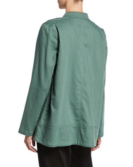 Eileen Fisher Petite Stand Collar Zip-Front Organic Cotton Twill Jacket
