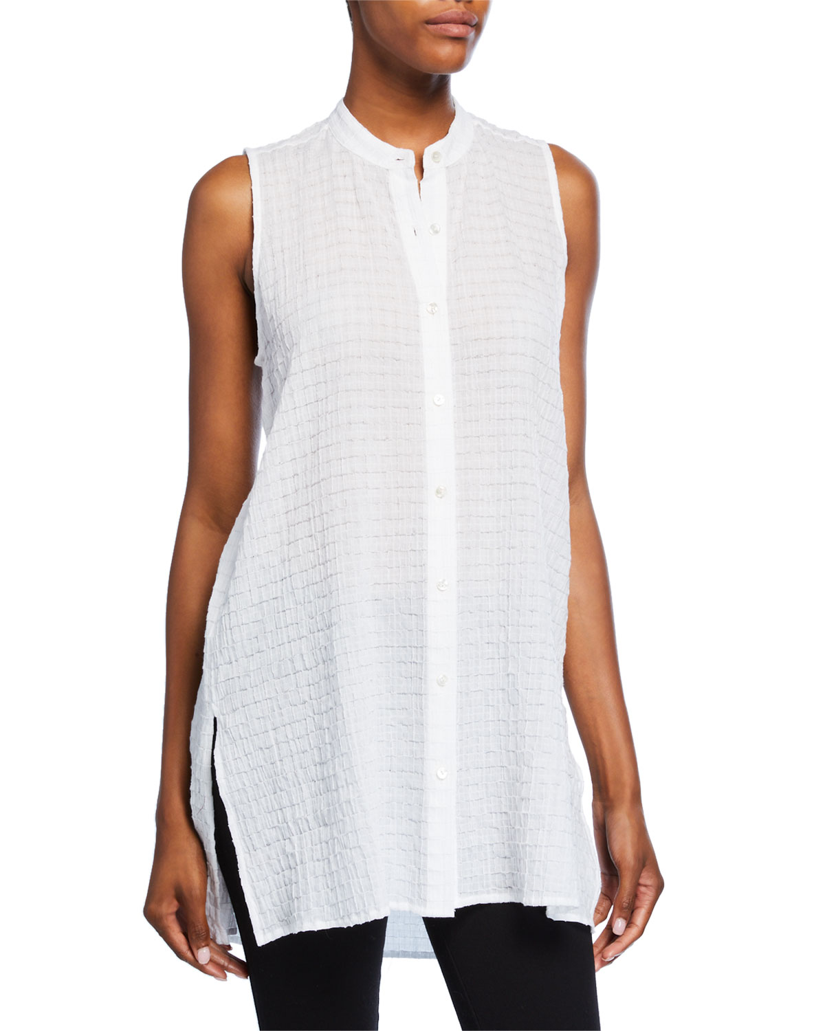 Organic Cotton Voile Sleeveless Button Front Long Box Shirt by Eileen Fisher