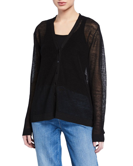 Eileen Fisher Plus Size V-Neck Button-Front Fine Crepe Knit Cardigan