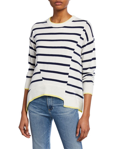 Avery Striped Asymmetrical Pullover