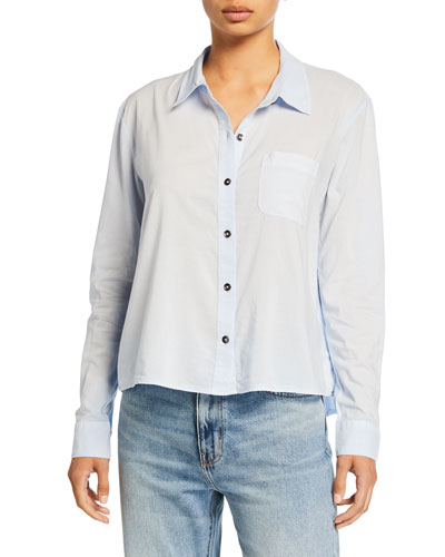 Button-Up Long-Sleeve Shirt w/ Contrast Back