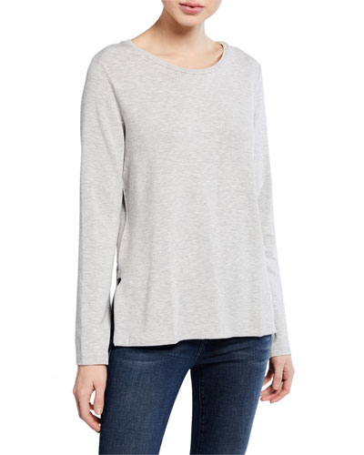 Scoop-Neck Long-Sleeve French-Terry Top