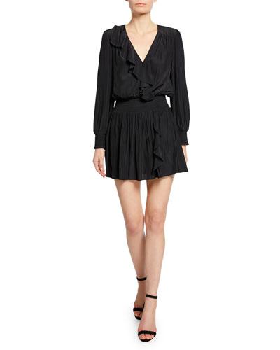 Corina Long-Sleeve Smocked-Waist Mini Ruffle Dress