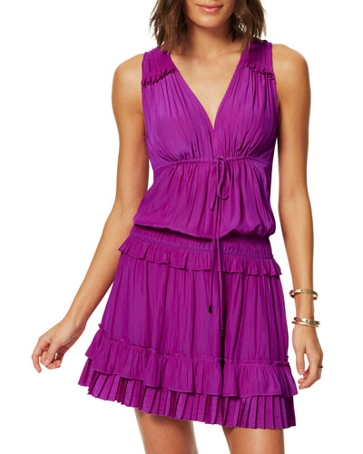 Hadley Pleated Sleeveless Short Dress