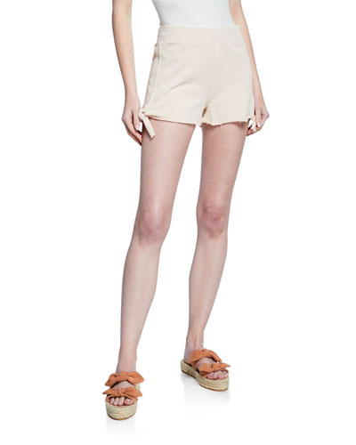 Side-Tie Cotton Shorts