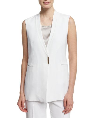 V-Neck Long Vest  White