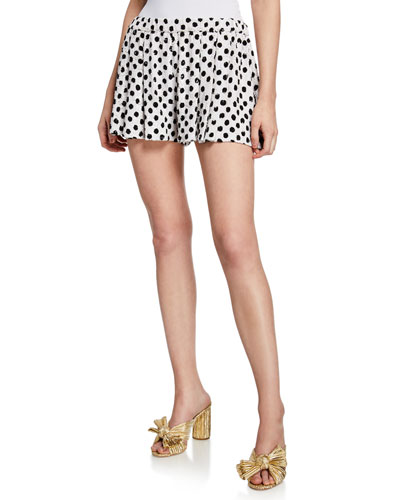 Sequined Dot-Print Pleated Shorts