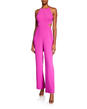 94766935ffd Aidan by Aidan Mattox Halter Strappy-Back Crepe Cutout Jumpsuit