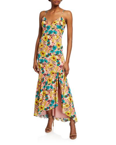 Floral-Print Spaghetti-Strap Maxi Dress w/ Open Back