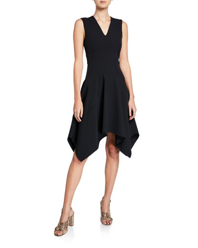 Sleeveless Bi-Stretch Handkerchief-Hem Dress