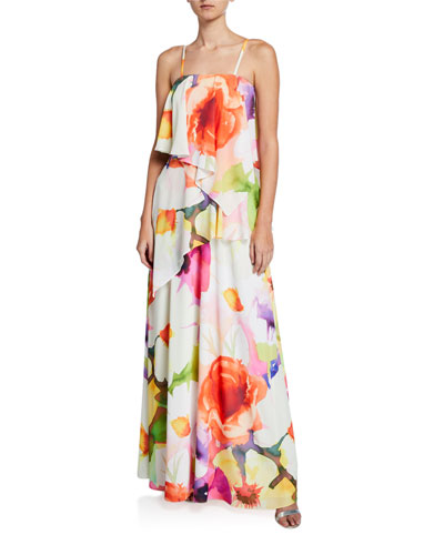 Eden Floral-Print Convertible Ruffle Maxi Dress