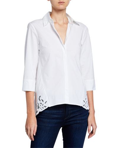 Cotton Poplin 3/4-Sleeve Shirt with Back Lace Detail